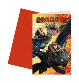 Uitnodigingen Dragons (6st)