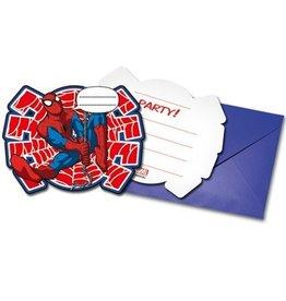 Uitnodigingen Spiderman (6st)