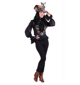 """Vest dame steampunk '""""Scarlett'', Zwart"""