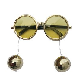 Bril Disco Balls goud