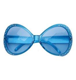 Bril Flashy + Strass Blauw