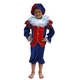 Kostuum-Kind Zwarte Piet blauw/rood