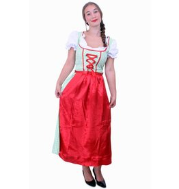 Tiroler jurk lang Sarah groen/wit ruitje, schortje rood
