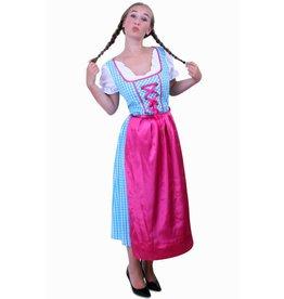 Tiroler jurk lang Anna blauw/wit ruitje, schortje pink