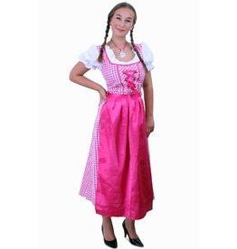 Tiroler jurk lang Lena pink/wit ruitje, schortje pink