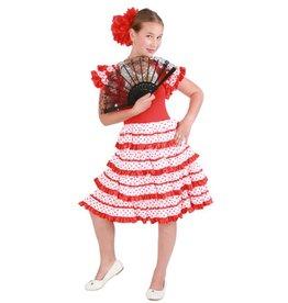 Spaanse jurk andalusie rood/wit
