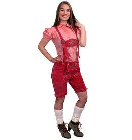 Lederhose pink kort model dames