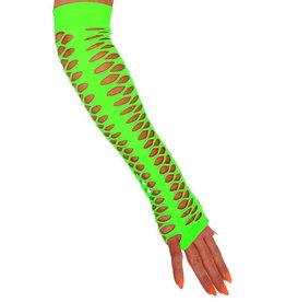 Handschoenen vingerloos grote gaten fluor groen 40 cm