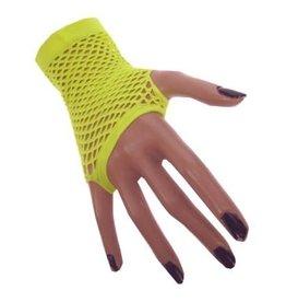 Nethandschoen kort vingerloos fluor geel