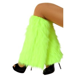 Beenwarmers pluche uitlopend fluor groen