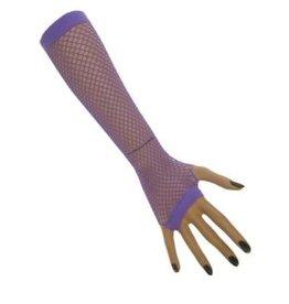 Nethandschoenen lang vingerloos fluor paars