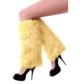 Beenwarmers pluche strepen fluor geel