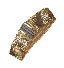 Riem elastisch pailletten goud