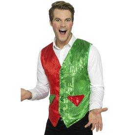Sequin Elf Vest, Rood / Groen