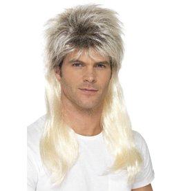 80s Rock Mullet Pruik, Blond