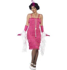 85c29c437154b3 Lange Flapper Charleston jurk Pink