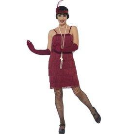 Korte Flapper Charleston jurk Bordeaux Rood