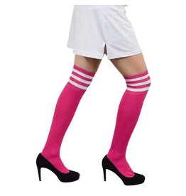 Cheerleaderkousen fluor pink/wit