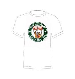 T-shirt bierviltje 'Bier is gezond en tieten zijn rond T-shirt'