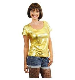 Damesshirt lamee goud