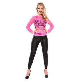 Damesshirt + gaten fluor roze