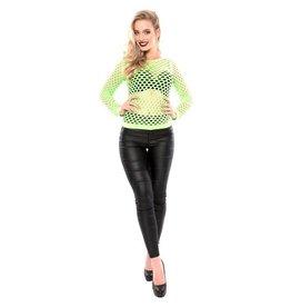 Damesshirt + gaten fluor groen