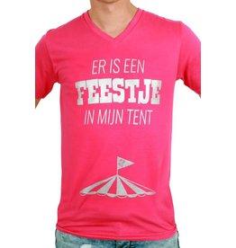 """T-shirt heren roze """"Er is een feestje in mijn tent"""""""