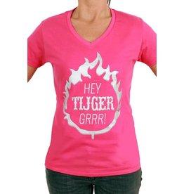 """T-shirt dames roze """"Hey tijger grrr"""""""