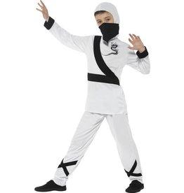 Ninja Assassin Kostuum, kind, Wit/Zwart