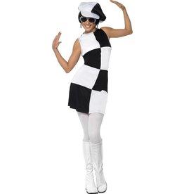 Jaren 60 Party Girl kostuum, Zwart/Wit