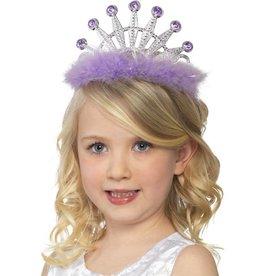 Tiara met marabou, assorti paars en rose