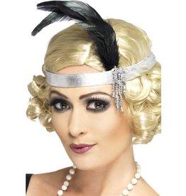 Zilveren Satijnen Charleston Haarband