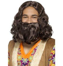 Hippie/Jezus Pruik en Baardset
