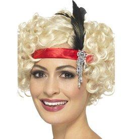 Satijnen Charleston haarband met veer en Juwelen, Rood