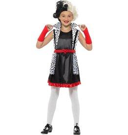 Cruella Kostuum, Zwart/ Wit, kind