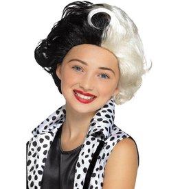 Cruella Pruik, Zwart/Wit, voor Kinderen