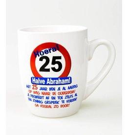 Verkeersbord mok 25 jaar halve Abraham
