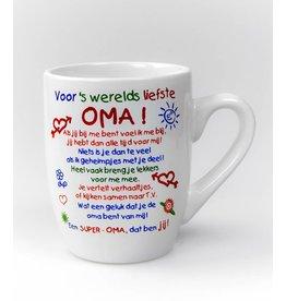 """Kleur Tekstmok  """"Voor 's werelds liefste Oma"""""""