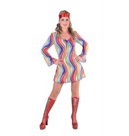 Jaren 70 jurk, rainbow waves