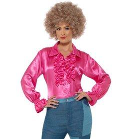 Satijnen Ruffle Blouse, pink
