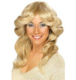 Jaren 70's flick pruik, blond