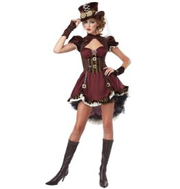Steampunk Dame Bordeaux Rood/Bruin