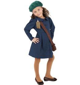WW2 Evacuee Meisjeskostuum, Blauw