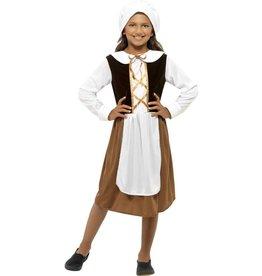 Tudor Meisjes Kostuum, Bruin