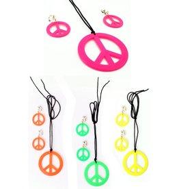 Peace ketting + oorbellen neon kleuren