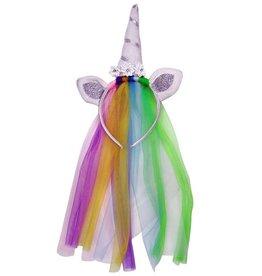 Diadeem Unicorn rainbow met sluier