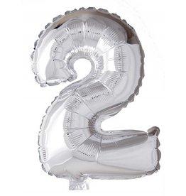 Folie ballon Cijfer 2 Zilver (40 cm)