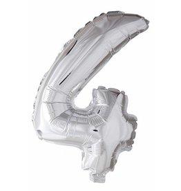 Folie ballon Cijfer 4 Zilver (40 cm)