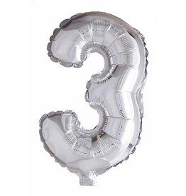 Folie ballon Cijfer 3 Zilver (40 cm)