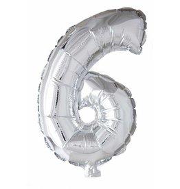 Folie ballon Cijfer 6 Zilver (40 cm)